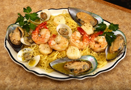 Marino's seafood special served over pasta